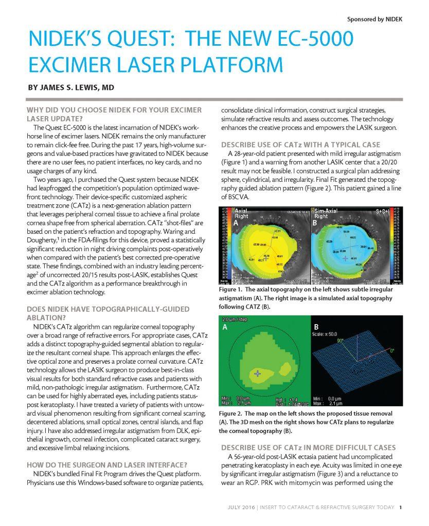 NIDEK'S QUEST: The New EC-5000 EXCIMER Laser Platform